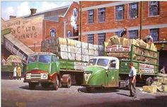 BMC articulated lorry and Scammell mechanical horse Nostalgic Pictures, Nostalgic Art, Antique Trucks, Vintage Trucks, Classic Trucks, Classic Cars, Mechanical Horse, Bus Art, Illustrations Vintage