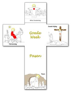 Kruis Goede Week en Pasen (VP600) Bible Lessons, Art Lessons, Godly Play, Bible Activities, Holy Week, Sunday School Crafts, Kids Church, Cross Stitch Patterns, Arts And Crafts