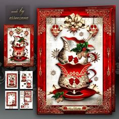 Christmas Cups of Tea Mini Kit: 4 sheets for print with decoupage for 3D effect plus few sentiment tags (for your own personal text)