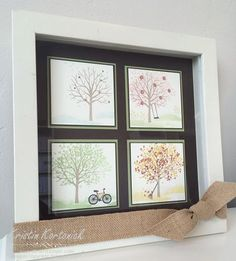Fun DIY Four seasons frame created using the Sheltering Tree Stamp Set from Stampin' Up!