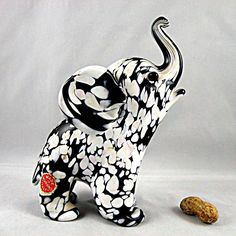 Archimede Seguso Murano Glass Elephant with Bianco Nero Finish and Label from San Marcos on Ruby Lane