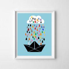 Cloud, paper boat, cloud wall decor, Scandinavian nursery, cloud printable, rain, rain printable kids nursery, nursery art, cloud nursery