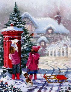 Letter to Santa Christmas Scenery, Vintage Christmas Cards, Christmas Pictures, Christmas Snowman, Christmas Greetings, Winter Christmas, Christmas Letters, Xmas, Illustration Noel