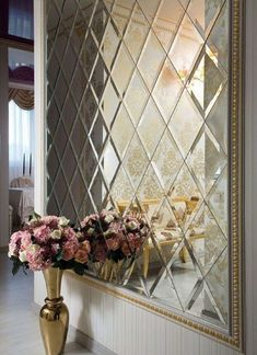 Mirror Wall Design Entryway 30 Ideas For 2020 Glass Design, Wall Design, House Design, Mirror Decor Living Room, Wall Decor, Spiegel Design, Neoclassical Interior, Entry Way Design, Mirror Tiles