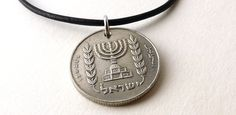 Jewish necklace, Coin necklace, Hanukkah necklace, Israel, Menorah, Coin…
