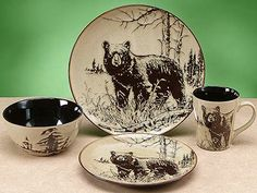 Woodlands Wildlife Black Bear Dinnerware Set - rustic lodge dinnerware set features a graceful image of a black bear standing on a forest edge embellished on a speckled sand background. Green Dinnerware, Rustic Dinnerware, Dinnerware Sets, Rustic Flatware, Black Bear Decor, Carving Knife Set, Just Dream, Place Settings, Rustic Decor
