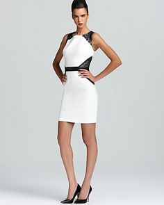 Laundry by Shelli Segal Dress - Sleeveless Lace Trim | Bloomingdale's