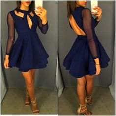 Hot Sale! Charming Backless Long Sleeves Lace/Chiffon A Line Short