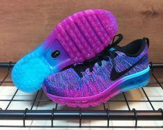 Size 8.5 Women's Nike Air Max Flyknit Blue Pink Purple Black (620659-502) #Nike #RunningCrossTraining