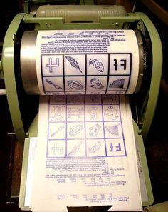 mimeograph machine This was how the teacher made copies. In school, everyone called it the ditto machine. If the paper was still a bit wet when you got it, the ink would rub off on your fingers. :)