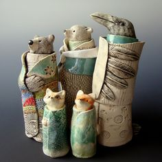 Oh my goodness - so freakin' cute! Animal Spirit Guide Sculptures - Clay Sculpture - Gallery - Ceramic Arts Daily Community