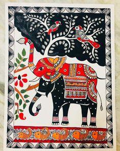 Madhubani Art, Madhubani Painting, Indian Art Paintings, Easy Paintings, Stencil Painting, Silk Painting, Kalamkari Painting, Kalamkari Saree, Indian Folk Art