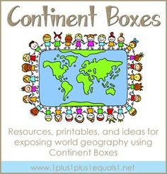 World Geography Resources...using Montessori Continent Boxes.  Printables, products, books, and ideas from 1+1+1=1