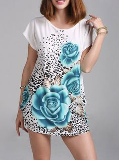 Big Flower Pattern Leopard Attractive Ladies T Shirt on buytrends.com