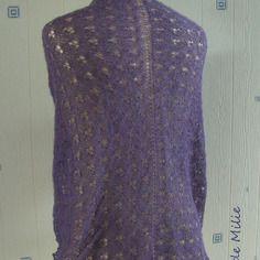 Châle violet dentelle, tricoté main, alpaga/soie