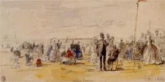 Beach Scene at Trouville  France- 1866 - Eugene Boudin
