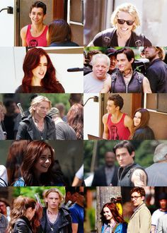 Jamie Campbell Bower, Lily Collins, Robert Sheehan, Jemima West & Kevin Zegers on set of The Mortal Instruments: City of Bones