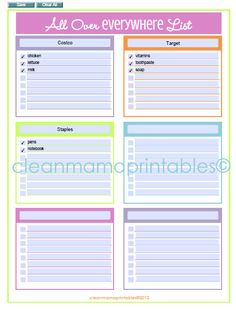 EDITABLE All Over Everywhere List - brights - INSTANT DOWNLOAD
