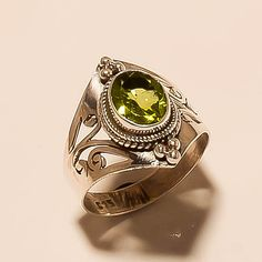925 Solid Sterling Silver Ring Natural Peridot Ring Faceted