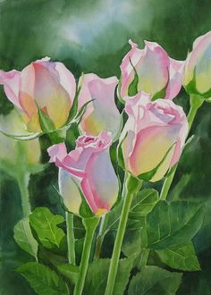 Draw Roses Rose Array by Sharon Freeman - Rose Array Painting - Rose Array Fine Art Prints and Posters for Sale - Art Floral, Watercolor Rose, Watercolor Paintings, Watercolours, Painting Art, Fleurs Diy, Plant Drawing, Botanical Art, Beautiful Paintings