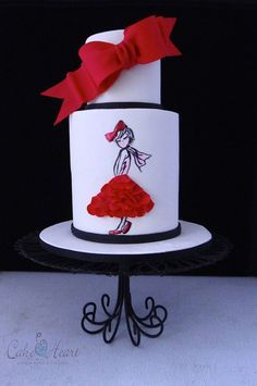 Red bow and ruffle skirt cake - by Cake Heart