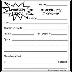 Literary Essay Anchor Chart By Karen Giameo Ardena To Support The  Literary Essay Graphic Organizers