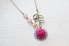 Pink Rose Flower Cabochon Necklace, Flower Necklace Czech Glass,Bridesmaid Necklace,Dahlia Cabochon Flower Spring Jewelry,Leaf Necklace. $18.00, via Etsy.