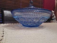 1940's-50's vintage depression glass blue cut glass candy dish. $27.50 #depressionglass