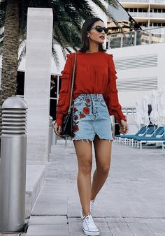 Spring Red Sweater with Jean Embroidered Skirt | Pop of Red | Embroidery | Converse | Sunnies #springstyle #sweaterweather