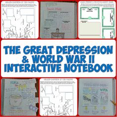 Love all these Interactive Notebook pages on the Great Depression and World War II! The Interactive Notebook pages include graphic organizers, creative foldables, timelines, and more! History Interactive Notebook, Social Studies Notebook, Teaching Social Studies, Interactive Notebooks, Teaching American History, Teaching History, History Education, History Teachers, World History Lessons