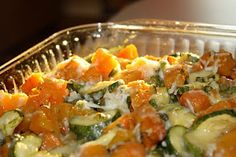 Butternut squash, zucchini, sweet potato baked casserole. This will be great after a trip to the farmer's market!