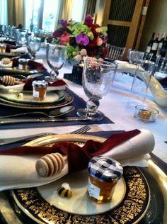 Jewel-Toned Rosh Hashanah table decor