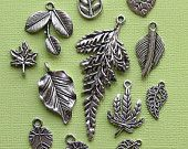 Leaves Charm Collection Antique Tibetan Silver Tone 12 Charms - COL022