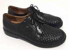 Finn Comfort Black Basketweave Leather Lace Up Oxfords Sz UK 10.5 US 11 #FinnComfort #Oxfords