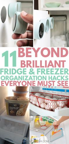These awesome DIYrefrigerator organization hacks are so simple to do! Extra space on shelves are great for small fridges. Great tips to help it stay clean too! Egg basket idea is so ADORABLE. Icee one genius! #lifehacking #refrigeratororganization #homemaking
