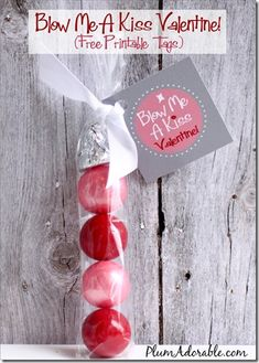 Blow Me A Kiss ~ Free Printable Tags.  Great idea!