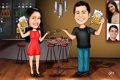Caricaturas digitais, desenhos animados, ilustração, caricatura realista: Desenho de casal para Chá Bar !!