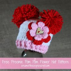 What an adorable little preemie crochet hat. Preemie Pom Pom Flower Hat - Media - Crochet Me