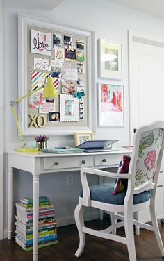 Eclectic office. | http://iheartorganizing.blogspot.com/2014/02/our-thrift-store-chair-project.html