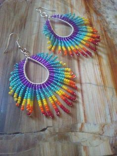 Items similar to Rainbow fringe earrings, boho earrings, fringe earrings, dangle earrings. on Etsy Bead Jewellery, Seed Bead Jewelry, Jewellery Shops, Silver Jewellery, Seed Beads, Fringe Earrings, Beaded Earrings, Hoop Earrings, Star Earrings
