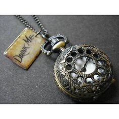 RegalRose Drink Me Pocket Watch Necklace (€22) ❤ liked on Polyvore featuring jewelry, necklaces and pocket watch