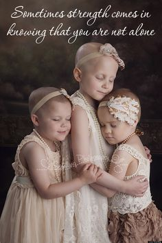 This is so incredibly beautiful.  The girls in the photo are all cancer patients, aged 3, 6 and 4. Rylie, on the far left, has just won her battle with stage five kidney cancer, Rheann, in the middle, has brain cancer and Ainsley, on the right, has leukemia. They had never met until this photo shoot.  Blessed Be. Photographer - Lora Scantling.