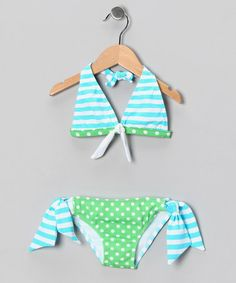 Take a look at this Azul Turquoise & Green Martha's Vineyard Halter Bikini - Girls by Azul Swimwear on #zulily today!