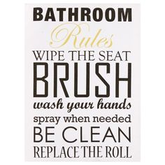 Canvas - Bathroom Rules/Canvas Art/Wall Decor|Bouclair.com