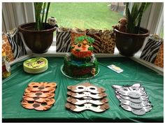 Jungle character masks as party favors for Jungle Baby Shower