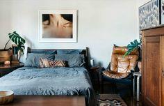 Mid century modern scandi style bedroom.
