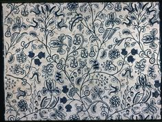 England    Panel, Late 17th century    Cotton and linen, weft-float faced twill weave; embroidered with wool in back, buttonhole, coral, Romanian, satin and stem stitches; French knots and couching; Binding: wool, plain weave  208.1 x 120.5 cm (82 x 47 1/2 in.)