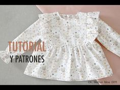 FREE blouse pattern (in Spanish) Baby Girl Frocks, Frocks For Girls, Baby Girl Frock Design, Baby Frocks Designs, Skirts For Kids, Sewing Patterns For Kids, Diy Dress, Little Dresses, Baby Sewing