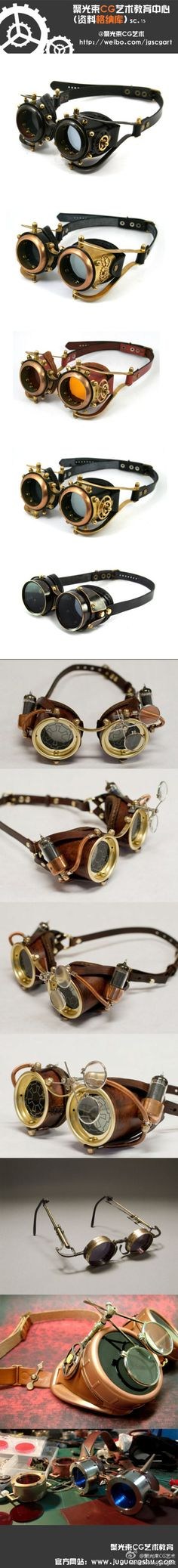 Examples of steampunk goggles and decorations Steampunk Accessoires, Mode Steampunk, Style Steampunk, Steampunk Gadgets, Steampunk Goggles, Steampunk Cosplay, Steampunk Design, Steampunk Wedding, Victorian Steampunk