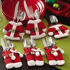 6pcs Santa Suit Christmas Silverware Holder/ 3 jackets-3 pants